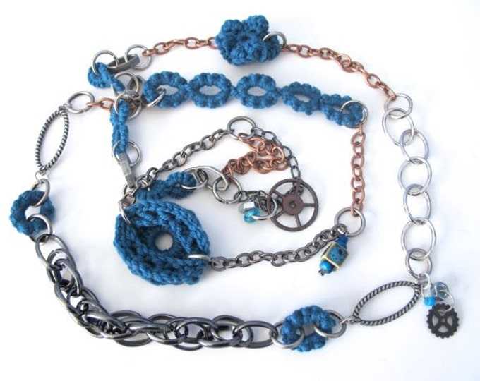 "Fiberpunk™ Necklace - Steel Blue - Extra Long 26"" / Fiber Jewelry / Crochet Jewelry / Tatted Jewelry / Free Shipping"