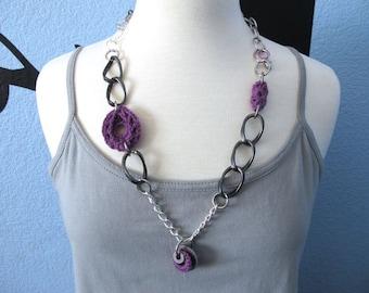"Fiberpunk™ Necklace - Lavender - Long 15"" / Fiber Jewelry / Crochet Jewelry / Tatted Jewelry / Free Shipping"