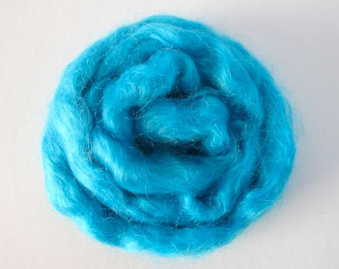 Hand Painted Mohair Top - Turquoise 1oz - Free Shipping