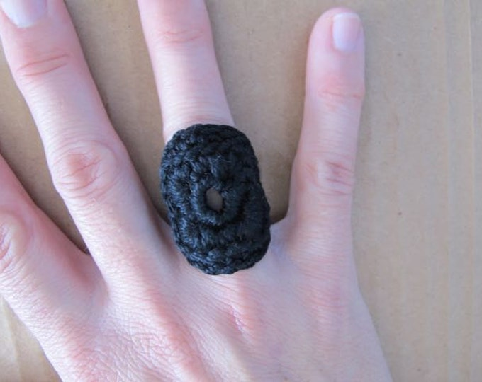 Fiberpunk™ Ring - Jet Black - Fits Sizes 6 and 7 - Cotton - Free Shipping