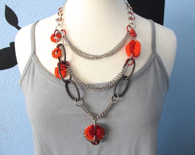 "Fiberpunk™ Necklace - Orange and Red - Multi-Chained - Long 16"" / Fiber Jewelry / Crochet Jewelry / Tatted Jewelry - Free Shipping"