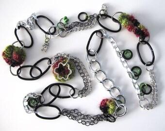"Fiberpunk™ Necklace - Emerald Green, Burgundy, Black Glitz - Extra Long 25"" / Fiber Jewelry / Crochet and Tatted Jewelry - Free Shipping"
