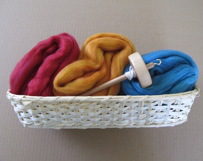 Learn to Spin Gift Basket - Cardinal, Ginger and Cyan / Spinning Gift Basket with Colorful Wool - Free Shipping
