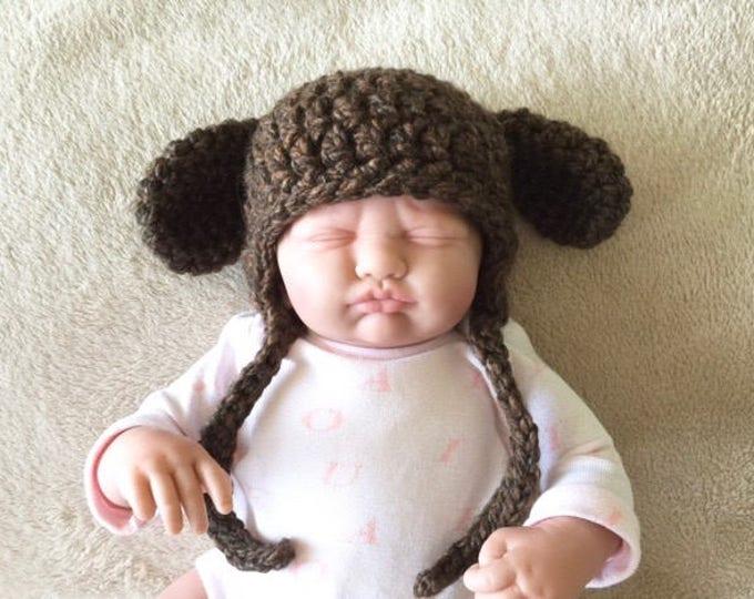 Newborn Earflap Hat with Bonus Puppy Ears Pattern - PDF Crochet Pattern