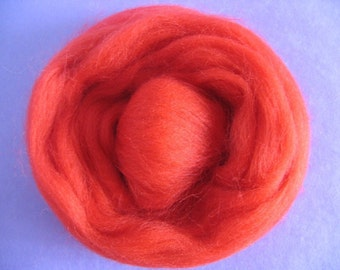 Roving Singles 1oz Really Red Corriedale Roving - Free Shipping