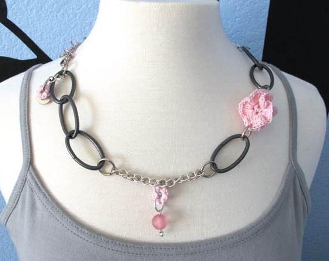 "Fiberpunk™ Necklace - Pink - Long 13"" / Fiber Jewelry / Crochet Jewelry / Tatted Jewelry / Free Shipping"