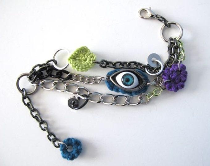 """Fiberpunk™ Bracelet - Teal/Chartruese/Purple - Wrist Size 6"""" - 7"""" / Fiber Jewelry / Crochet Jewelry / Tatted Jewelry"""