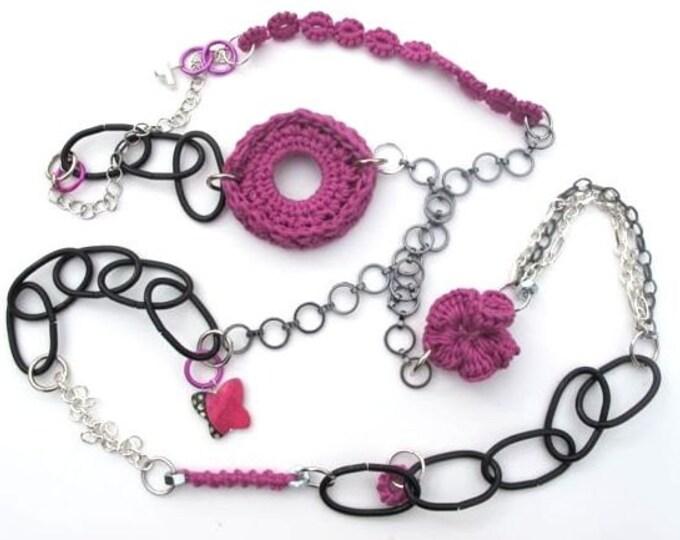 """Fiberpunk™ Necklace - Fuchsia Pink - Extra Long 27"""" / Fiber Jewelry / Crochet Jewelry / Tatted Jewelry / Free Shipping"""