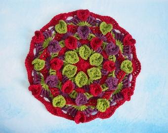 Falling Leaves Mandala Crochet Pattern - Crocheted Mandala - Crochet Applique - Crochet Round Motif - PDF Crochet Pattern
