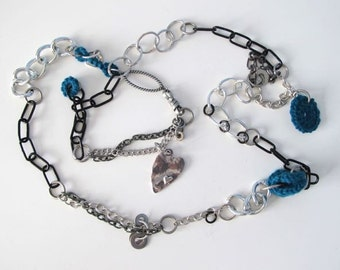 "Fiberpunk™ Necklace - Dark Teal - Heart - Extra Long 24"" / Fiber Jewelry / Crochet Jewelry / Tatted Jewelry - Free Shipping"