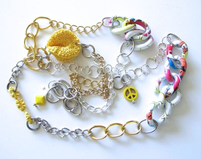 "Fiberpunk™ Necklace - Bright Yellow and White - Extra Long 24"" / Fiber Jewelry / Crochet Jewelry / Tatted Jewelry"