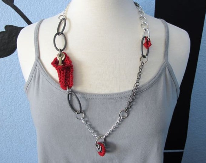 "Fiberpunk™ Necklace - Red - Long 15"" / Fiber Jewelry / Crochet Jewelry / Tatted Jewelry / Free Shipping"
