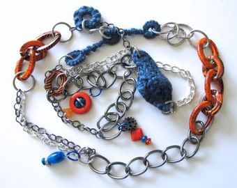 "Fiberpunk™ Necklace - Denim Blue and Orange - Extra Long 26"" / Fiber Jewelry / Crochet Jewelry / Tatted Jewelry"