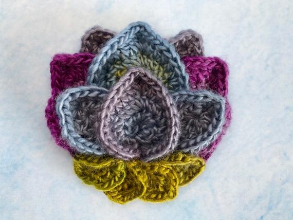 Lotus Flower Appliqu Crochet Pattern Crocheted Flower Etsy