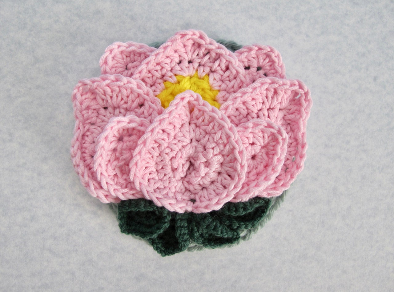 Lotus Flower Appliqu Crochet Pattern Crocheted Flower Crochet