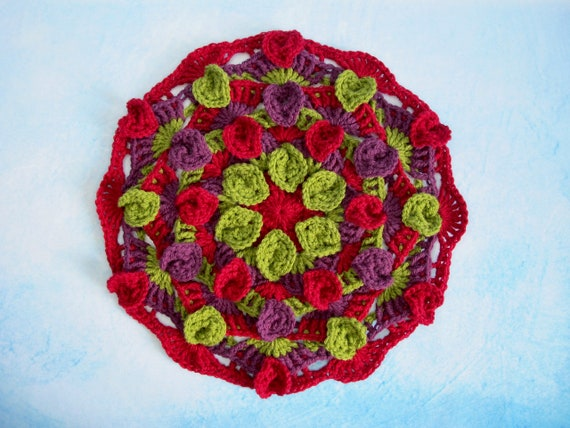 Falling Leaves Mandala Crochet Pattern Crocheted Mandala Etsy