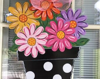 Front Door Decor, Spring Door Hanger, Spring Decorations, Flower Bouquet Door  Hanger, Wood Door Hanger