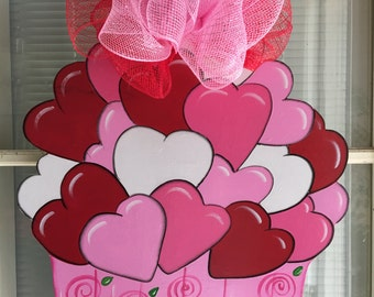 Valentine Door Decor Front Door Decor Valentine Door Decorationsin Stock Valentine Door Hanger Valentine Cupcake Door Hanger