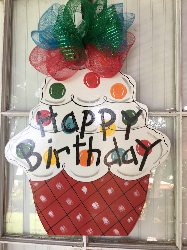 Birthday Door Hanger Front Door Decor Happy Birthday Door Etsy