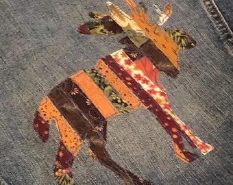 Minnesota Appliqued Jacket, Upcycled Embellished Jean Jacket, Moose Appliqued Denim Jacket, Thrifted Embellished Size L Cropped The Limited