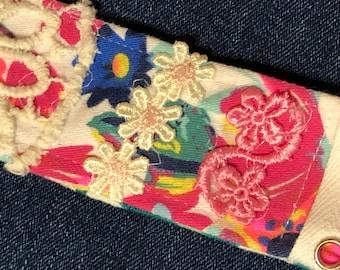 Boho Denim & Lace Cuff, Textile Bracelet, Lace Tie OOAK Denim Cuff, Upcycled Fabric Cuff, Boho Fabric Accessory