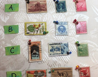 3-Pack Vintage Postage Stamp Charms with Jump Ring Attachment and Colorful Seed Beads, Junk Journal Page Charms, Dangles, Drippings G8