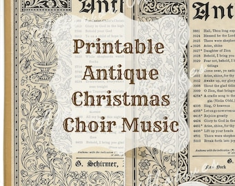 Printable Antique Christmas Choir Music, 20 Pages, Coffee-Colored Paper, Gorgeously Illustrated Covers