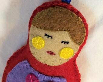 Matryoshka Doll Felt Ornament, Matryoshka Doll Christmas Ornament, Felt Christmas Ornament, Colorful Felt Ornament
