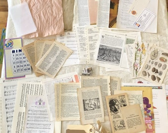 Junk Journal Paper Kit #3, 85 Pieces Vintage Paper Recipe Music Math Coffee-Dyed Graph Children's Wildflower Foreign Language Postage Stamps