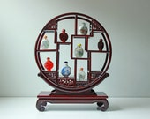 Vintage Chinese carved rosewood hardwood curio stand - snuff bottle display stand