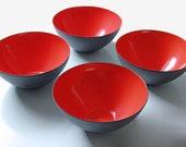 4 red and black Krenit enamel bowls by Herbert Krenchel - Mid century modern enamel bowls B1