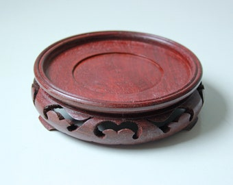 "Lrg - Vintage Chinese carved red rosewood hardwood stand - 4.5"" inside Diameter - No.1"