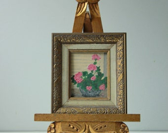 Vintage still life oil miniature painting of pink hydrangea - small painting