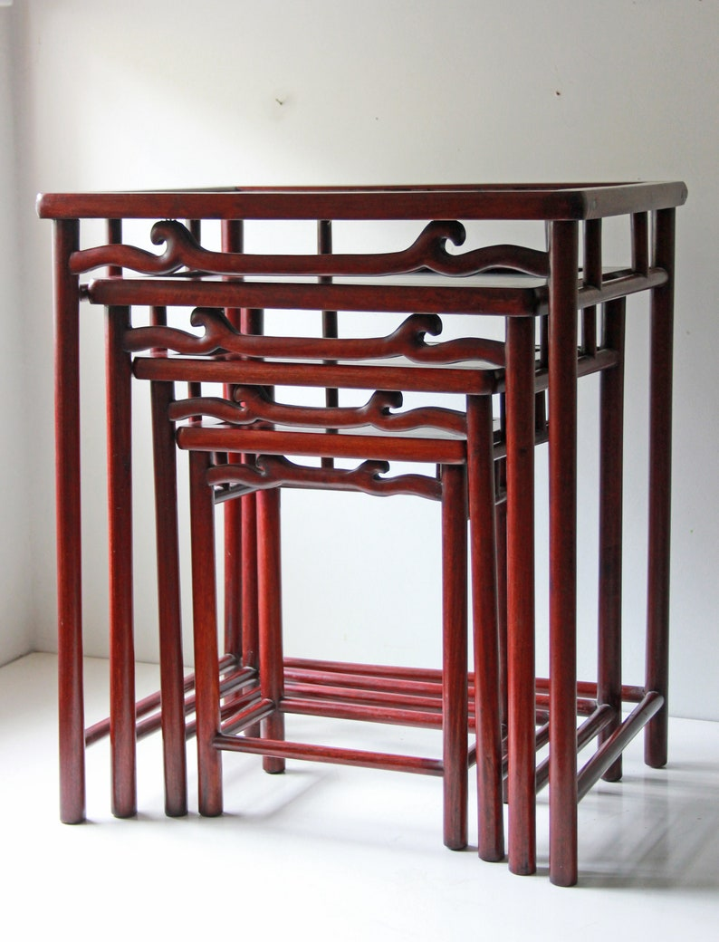 Set Of 4 Vintage Chinese Rosewood Nesting Tables / Side Table / Stacking  Tables