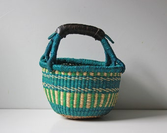 Vintage green African mini market basket with leather handle / kids toys woven basket