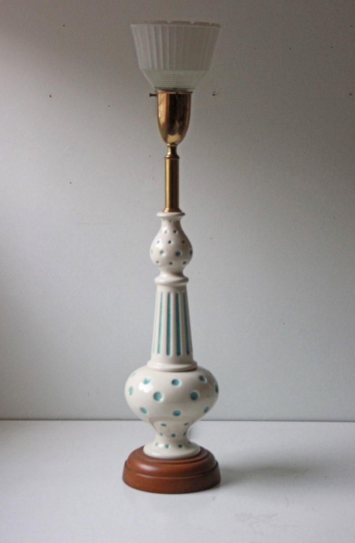 Kids nursery lamp Vintage blue polka dot 3-way table lamp