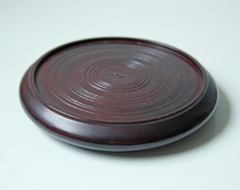 "Lrg - Vintage round Chinese rosewood hardwood stand - 5 2/8"" inside diameter - No.5"