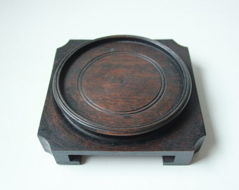 "Lrg - Vintage square Chinese carved rosewood hardwood stand - 3 7/8"" inside Diameter - No.3"
