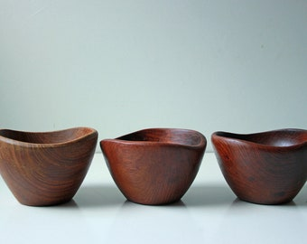 3 Vintage wood turned serving bowls with beautiful organic shapes
