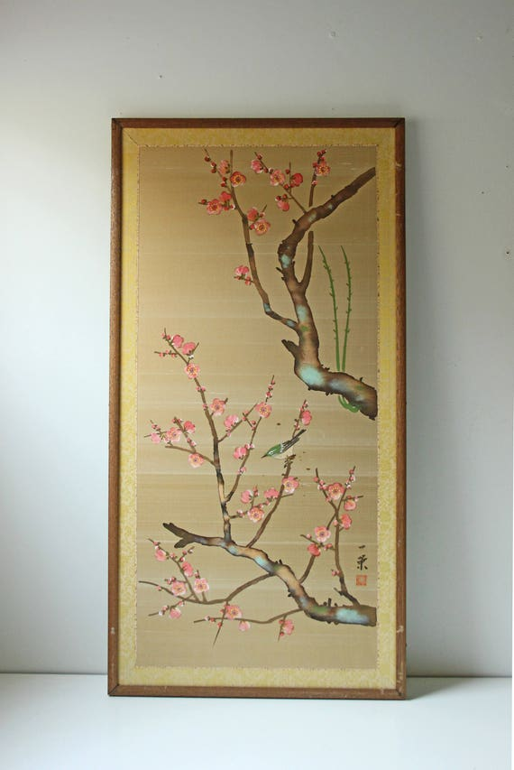 Vintage gold silk Japanese cherry blossom wall art framed | Etsy