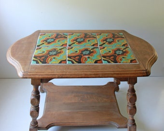 Antique Catalina tile table - arts and crafts mission style coffee or side table - Spanish style Monterey multi color tile