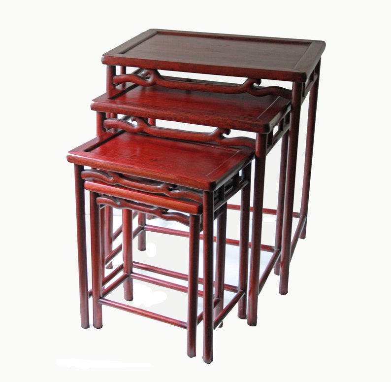 Attrayant Set Of 4 Vintage Chinese Rosewood Nesting Tables / Side Table / Stacking  Tables