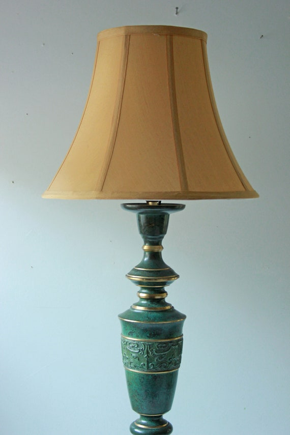 Vintage Chinese Bronze Metal Table Lamp Asian Oriental Lamp Etsy