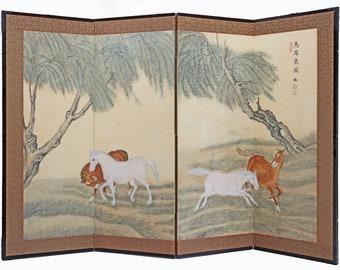 Japanese Folding Screen Divider Horses Under Willow Tree; Floral Matte Gold 4 Panel Byobu Screen; Elegant Wall Decor Headboard --[S18]