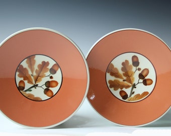 Pair of Faience Denmark Alumnia salad/bread plates - Acorn and Leaves