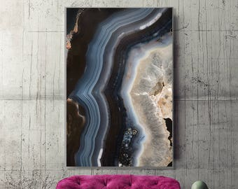 Mineral Photography - (Print # 082) Navy Blue Agate  - Fine Art Print - Two Paper Choices- Mineral Geode Agate Crystal Decor