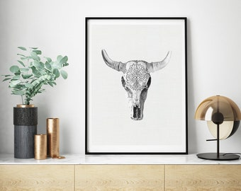 Mineral Photography - (Print # 190)   - Cow Skull -  Fine Art Print -  Bohemian Home