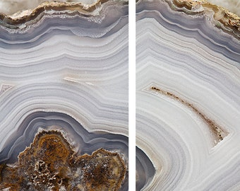 Set of 2 Agate Prints  - Prints (Print #056 & 057) - Fine Art Print - Two Paper Choices- Mineral Geode Agate Crystal Decor