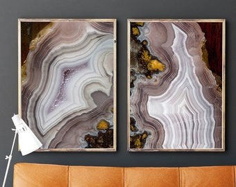 Set of 2 Agate Prints  - Prints (Print #040 and 041) Fine Art Print - Two Paper Choices- Mineral Geode Agate Crystal Decor