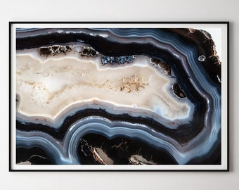 Mineral Photography - (Print # 429) Navy Blue Agate  - Fine Art Print - Two Paper Choices- Mineral Geode Agate Crystal Decor